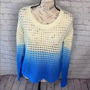 Good Luck Gem Ombre Blue boho crochet crop sweater